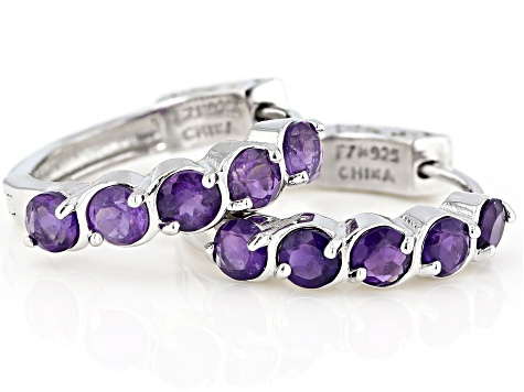 Purple amethyst  rhodium over sterling silver hoop earrings 2.07ctw