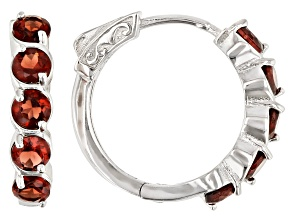 Red garnet rhodium over sterling silver hoop earrings 3.15ctw