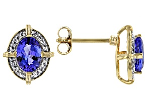 Blue Tanzanite 18k Yellow Gold Over Sterling Silver Stud Earrings 1.52ctw