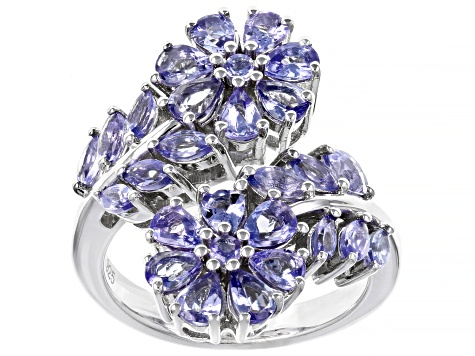 Blue tanzanite rhodium over silver bypass ring 2.61ctw