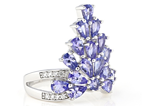 Blue tanzanite rhodium over silver ring 2.99ctw
