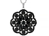 Black Spinel Rhodium Over Sterling Silver Pendant with Chain 8.05ctw