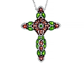 Red garnet rhodium over sterling silver cross pendant/slide with chain 10.40ctw