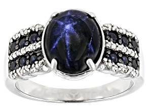 Blue Star Sapphire Rhodium Over Sterling Silver Ring  4.69ctw