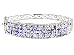 Blue Tanzanite Rhodium Over Silver Bracelet 8.37ctw