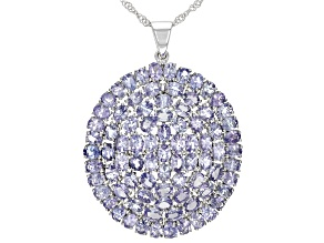 Blue Tanzanite Rhodium Over Silver Pendant With Chain 11.99ctw