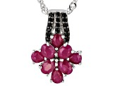 Red Ruby Rhodium Over Sterling Silver Pendant with Chain 1.61ctw