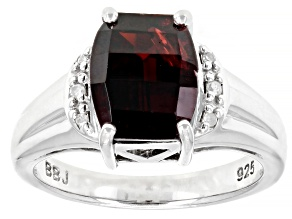 Red garnet rhodium over sterling silver ring 3.86ctw
