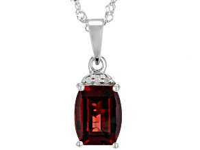 Red garnet rhodium over silver pendant with chain 3.84ctw