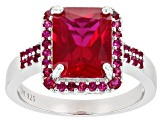 Red Lab Created Ruby Rhodium Over Silver Ring 4.20ctw