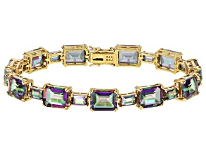 Multi-color quartz 18k yellow gold over silver bracelet 34.32ctw