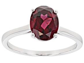 Purple Raspberry Color Rhodolite Rhodium Over Silver Ring 2.13ct