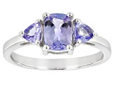 Blue Tanzanite Rhodium Over Sterling Silver 3-Stone Ring 1.18ctw