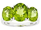 Green peridot rhodium over sterling silver 3-stone ring 4.60ctw