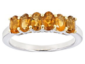 Orange madeira citrine rhodium over silver band ring 1.13ctw