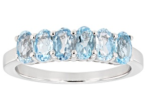 Swiss blue topaz rhodium over sterling silver band ring 1.53ctw