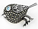 Swiss blue topaz oxidized sterling silver bird brooch .08ct