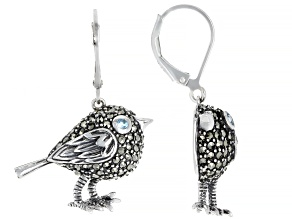 Swiss blue topaz oxidized sterling silver bird dangle earrings .02ctw