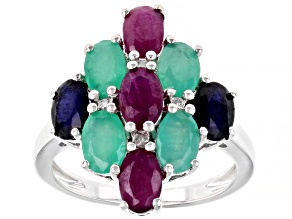 Red Ruby Rhodium Over Sterling Silver Ring 3.89ctw