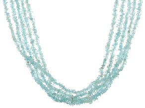 Blue Aquamarine Rhodium Over Sterling Silver 5-Strand Necklace