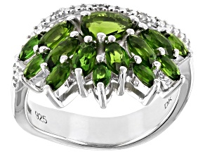 Green Chrome Diopside Rhodium Over Silver Ring 2.17ctw