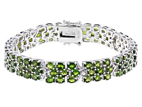 Green Chrome Diopside Rhodium Over Silver Bracelet 17.85ctw