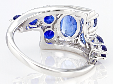 Blue Kyanite Rhodium Over Silver Ring 3.49ctw