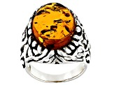 Orange Amber Rhodium Over Sterling Silver Ring