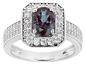 Blue lab created alexandrite rhodium over silver ring 1.80ctw