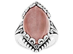 Pink Mookaite Rhodium Over Sterling Silver Ring