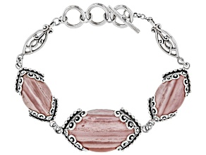 Pink Mookaite Rhodium Over Sterling Silver Bracelet
