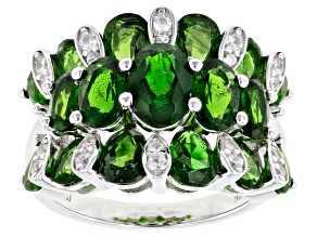 Green chrome diopside rhodium over silver ring 4.68ctw