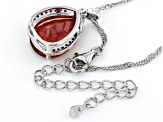 Red Labradorite Rhodium Over Silver Pendant With Chain 6.64ctw