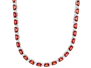 Orange padparadscha sapphire rhodium over silver necklace 36.47ctw