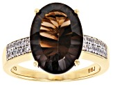 Brown smoky quartz 18k yellow gold over silver ring 4.83ctw