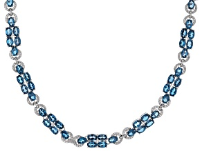 London blue topaz rhodium over silver necklace 48.55ctw