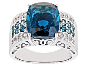 London Blue Topaz Rhodium Over Sterling Silver Ring 6.94ctw