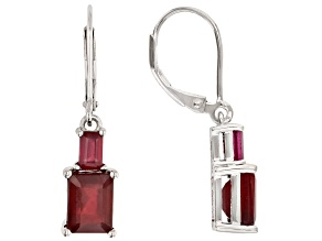 Red Ruby Rhodium Over Silver Earrings 5.02ctw