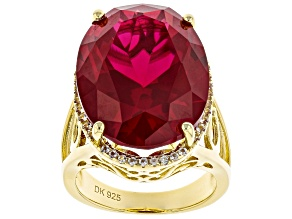 Red ruby 18k yellow gold over sterling silver ring 21.73ctw