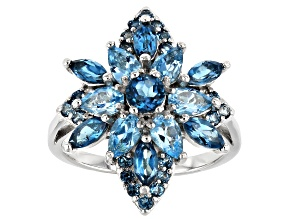 Mixed Blue Topaz Rhodium Over Silver Ring 3.01ctw