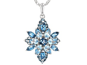 Mixed Blue Topaz Rhodium Over Silver Pendant With Chain 3.01ctw