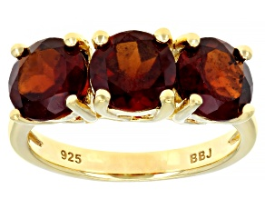Red garnet 18k yellow gold over silver 3-stone ring 3.92ctw
