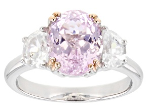 Pink Kunzite Rhodium Over Sterling Silver Ring 4.24ctw