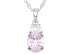 Pink Kunzite Rhodium Over Sterling Silver Pendant with Chain 3.69ctw