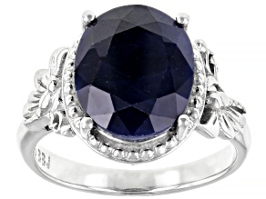 Blue Sapphire Rhodium Over Sterling Silver Solitaire Ring 4.68ct