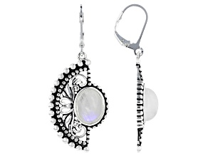 White Rainbow Moonstone Sterling Silver Dangle Earrings
