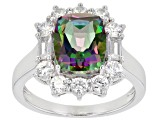 Green Mystic Fire(R) Topaz Rhodium Over Sterling Silver ring 4.30ctw