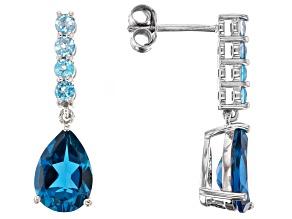 London Blue Topaz Rhodium Over Sterling Silver Earrings 3.96ctw