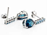London Blue Topaz Rhodium Over Sterling Silver Earrings 3.96ctw