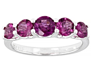 Purple Rhodolite Rhodium Over Sterling Silver band ring 2.01ctw